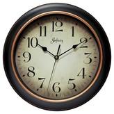 "Infinity Instruments Hanover Wall Clock - 12""D - Black/Rose Gold"