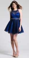 Dave and Johnny Sapphire Illusion Sparkle Belted Homecoming Dress