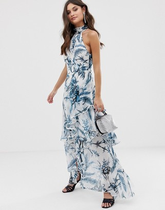 Asos DESIGN high neck maxi dress in crinkle chiffon palm print