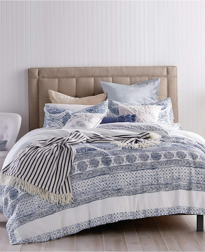 Peri Home Cotton Reversible Matelasse Medallion Twin Duvet Cover Bedding