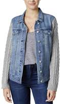 Jessica Simpson Womens Peri Sweater Sleeve Bleach Washed Denim Jacket