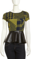 Romeo & Juliet Couture Scuba Houndstooth-Print Faux-Leather Peplum Top