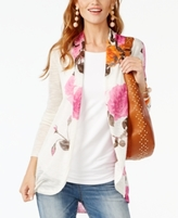 INC International Concepts Petite Floral-Print High-Low Cardigan, Created for Macy's