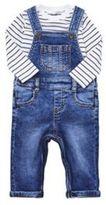 F&F Denim Dungarees and Striped Long Sleeve Bodysuit Set, Newborn Boy's