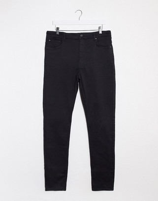 Weekday body high-waist extended sizes skinny jeans in black