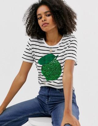 Only lime stripe short sleeve t-shirt-White