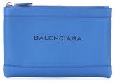 Balenciaga Navy Clip Small Pochette leather clutch
