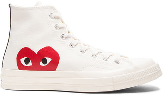 Comme des Garcons Converse Large Emblem High Top Canvas Sneakers in White | FWRD