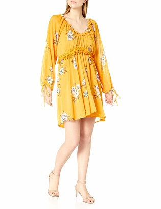 Moon River Women's Floral Sun Dress with Long Sleeve Ties and Tassel Detail