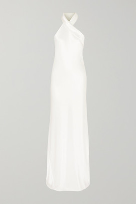 Galvan Mayfair Halterneck Asymmetric Satin Gown - White
