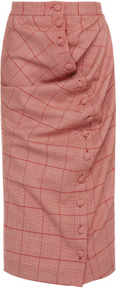 Y/Project Twist-Detailed Plaid Wool Midi Skirt