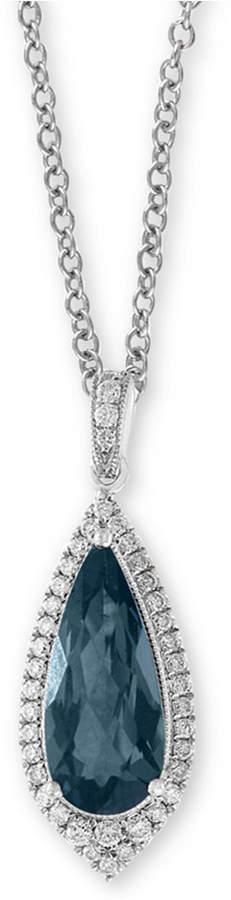 "Effy London Blue Topaz (2-3/8 ct. t.w.) & Diamond (1/4 ct. t.w.) 18"" Pendant Necklace in 14k White Gold"
