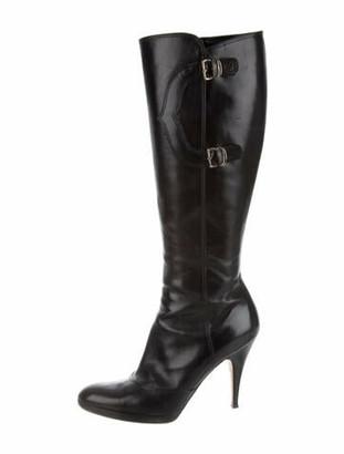 Oscar de la Renta Leather Boots Black