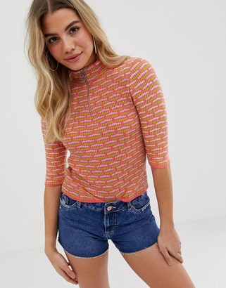ASOS DESIGN short sleeve rib knit sweater with zip detail in texture