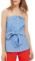 Topshop Petite Women's Tie Stripe Strapless Top