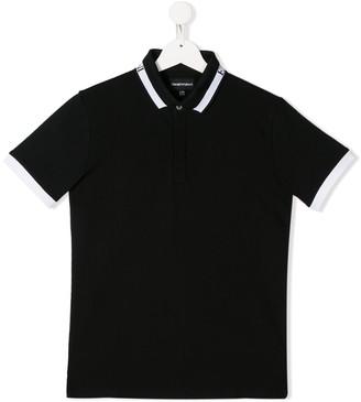 Emporio Armani Kids TEEN logo collar polo shirt