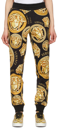 Versace Black and Gold Medusa Coin Lounge Pants