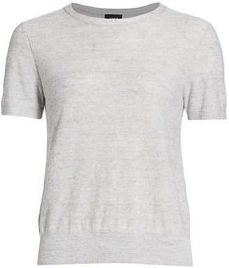 Akris Sequin Linen & Cotton Blend Tee