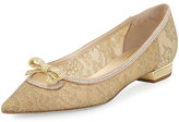 Rene Caovilla Lace Pointed-Toe Bow Flat, Gold