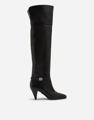 Dolce & Gabbana Calfskin Boots With Crossover Logo