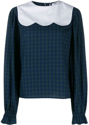 Batsheva tartan print blouse