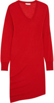 Balenciaga Asymmetric Wool, Silk And Cashmere-blend Dress - Red