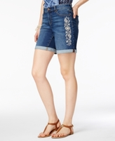 Style&Co. Style & Co Style & Co Petite Embroidered Cuffed Denim Shorts, Created for Macy's