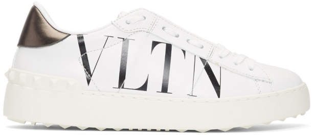 Valentino White and Black Garavani VLTN Open Sneakers