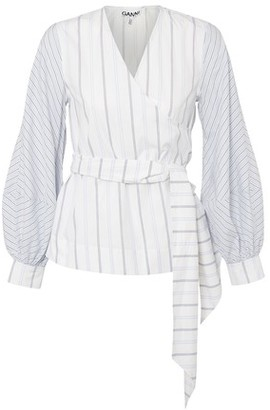 Ganni Wrap front cotton blouse