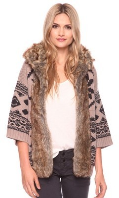 Forever 21 Love 21 Faux Fur Collar Cardigan