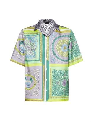 Versace Barocco Mosaic Print Short-Sleeve Shirt