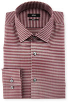 BOSS Jenno Slim-Fit Tonal-Herringbone Dress Shirt, Burgundy