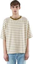 Saint Laurent Men's Striped Boxy T-shirt In Beige And Khaki