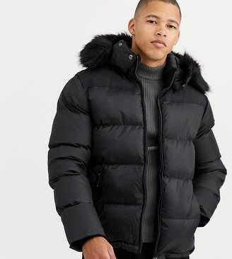 Schott Exclusive 2190J slim fit puffer jacket with detachable faux fur hood-Black