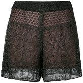 Circus Hotel layered lurex shorts - women - Silk/Cotton/Polyester/Viscose - S