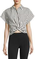 Alexander Wang T by Twisted Front Striped Shirt