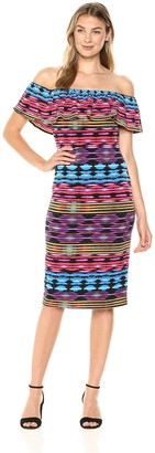 Maggy London Women's Jersey Off The Shoulder Printed Sheath