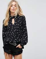 Glamorous Long Sleeve Blouse With Tie Cuffs In Star Print