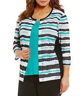 Ming Wang Plus Stripe Sheer Burnout Jacket