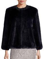 Alberto Makali Embellished Faux Fur Jacket