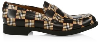 Burberry Emile Checkerboard Leather Penny Loafers