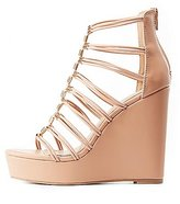 Charlotte Russe Metal-Tipped Caged Wedge Sandals