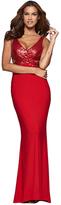 Faviana Sequined Long Jersey V-Neck Stretch Dress 7992