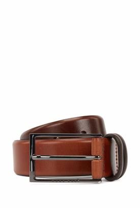 HUGO BOSS Mens Carmello Vegetable-tanned leather belt with gunmetal hardware