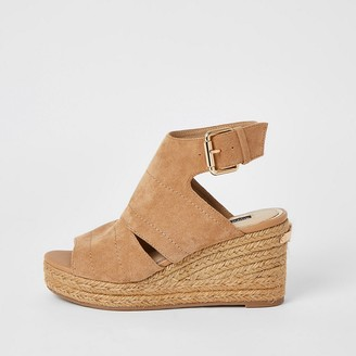 River Island Beige open toe wedge sandals