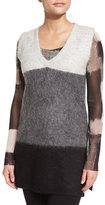 Fuzzi Sleeveless Colorblock Knit Vest, Cream/Gray/Black