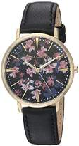 Vince Camuto Women's VC/5348BKBK Floral Pattern Dial Black Leather Strap Watch