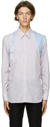 Alexander McQueen Red and White Striped Harness Shirt