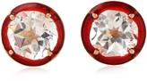 Artisan 18K Gold Stud Earring With Enamel & Topaz