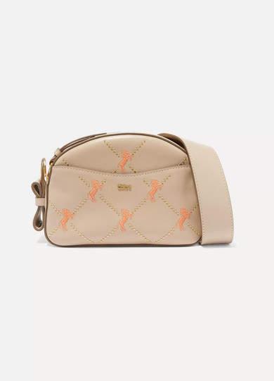 Chloé Studded Embroidered Leather Shoulder Bag
